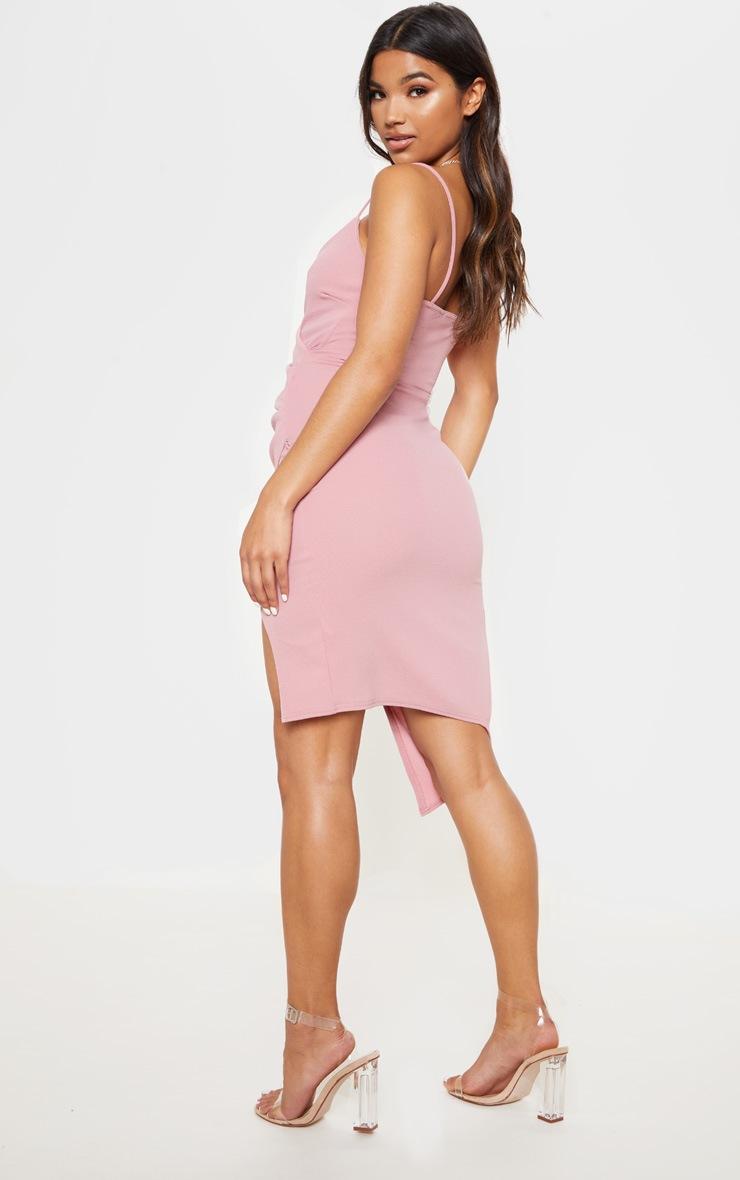 Lauriell robe midi rose en crêpe cache-cœur 2