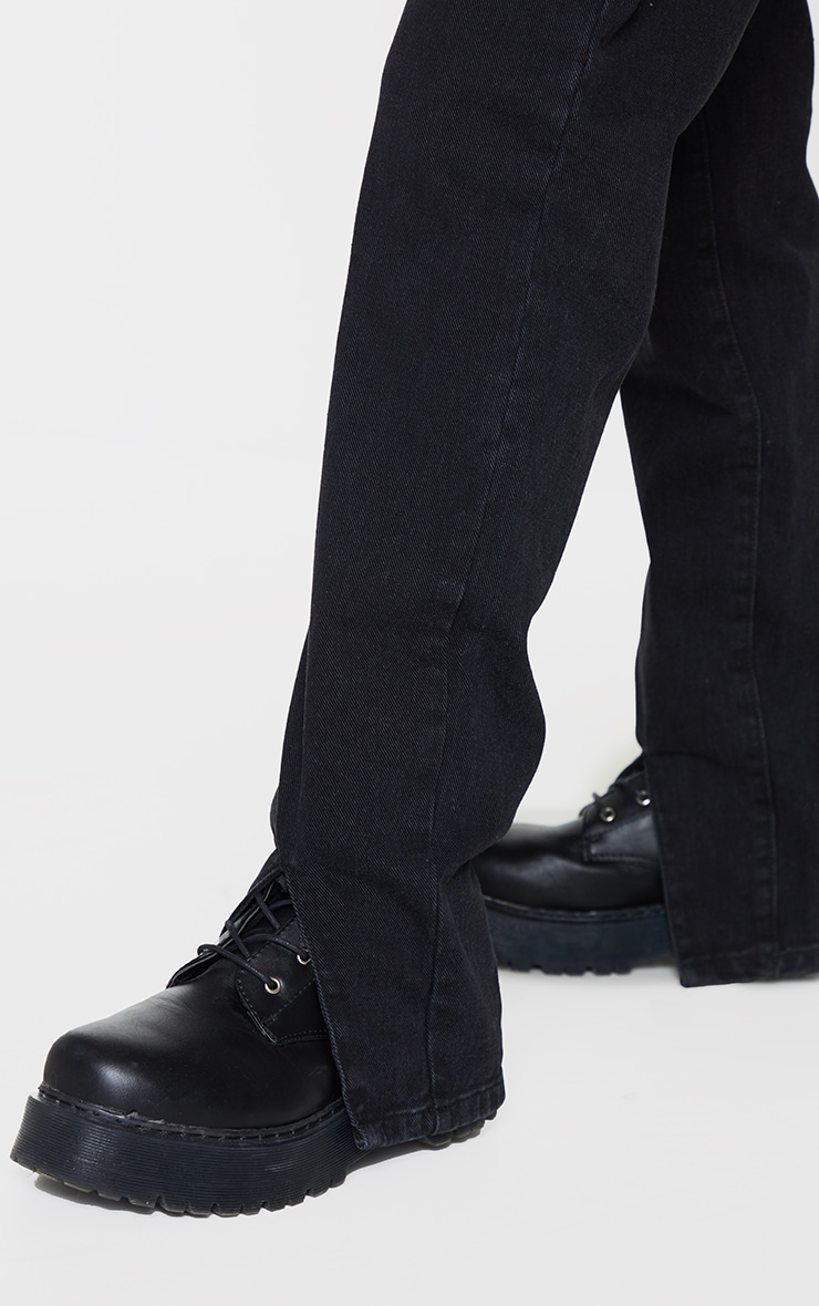 Washed Black Front Split Long Leg Straight Jeans 4