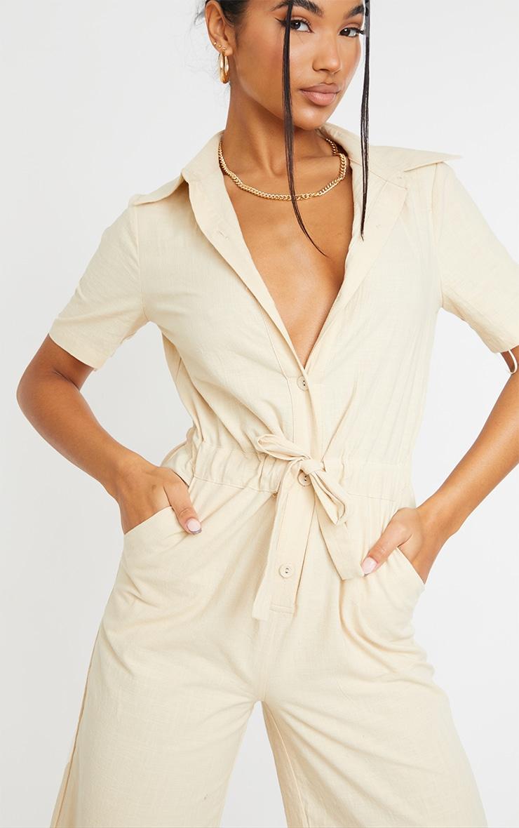 Stone Linen Look Tie Waist Short Sleeve Shirt Jumpsuit 4