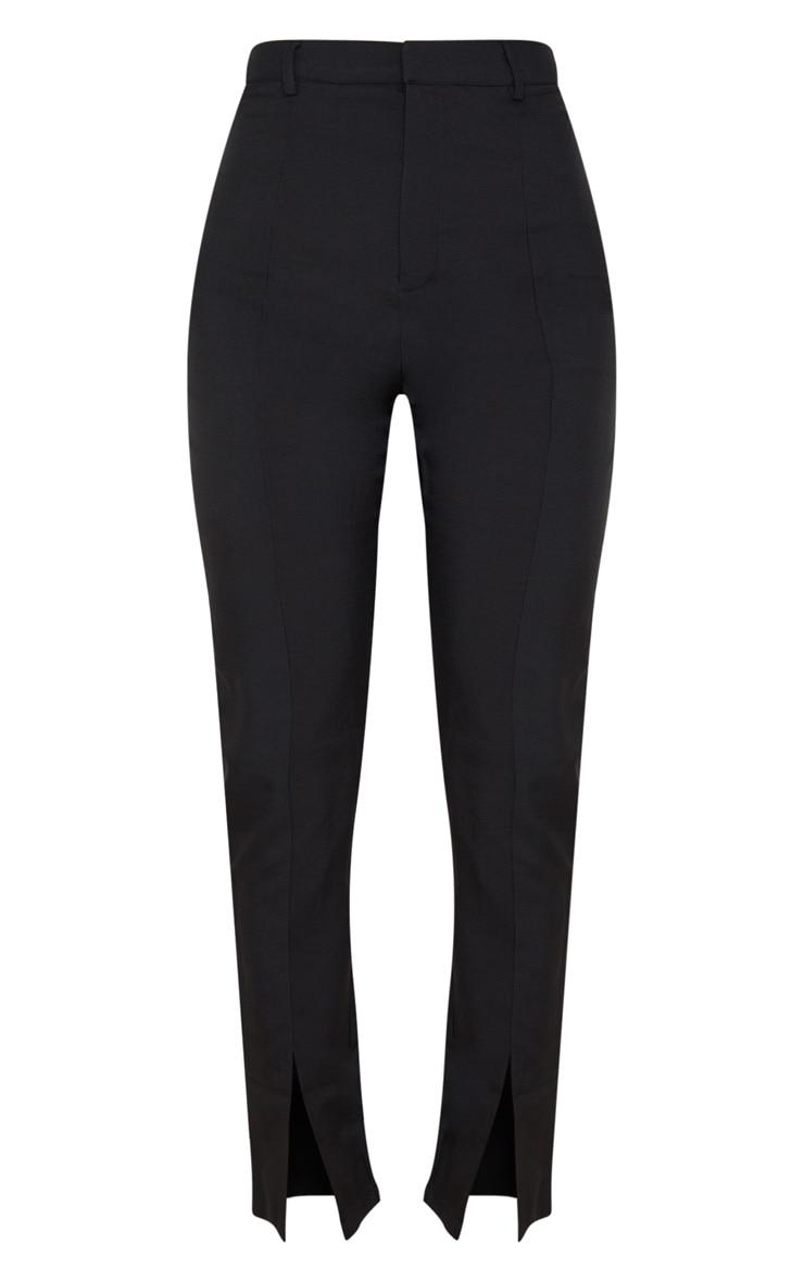 Black High Waisted Straight Leg Split Hem Pants 3
