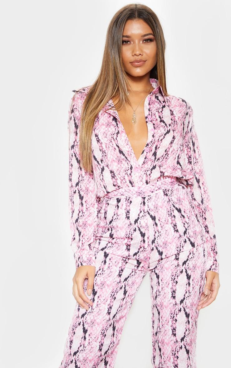 pink snake print oversized shirt
