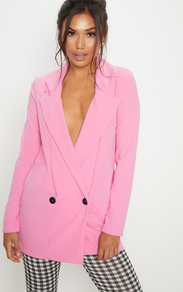 Pink Long Line Boyfriend Blazer  1