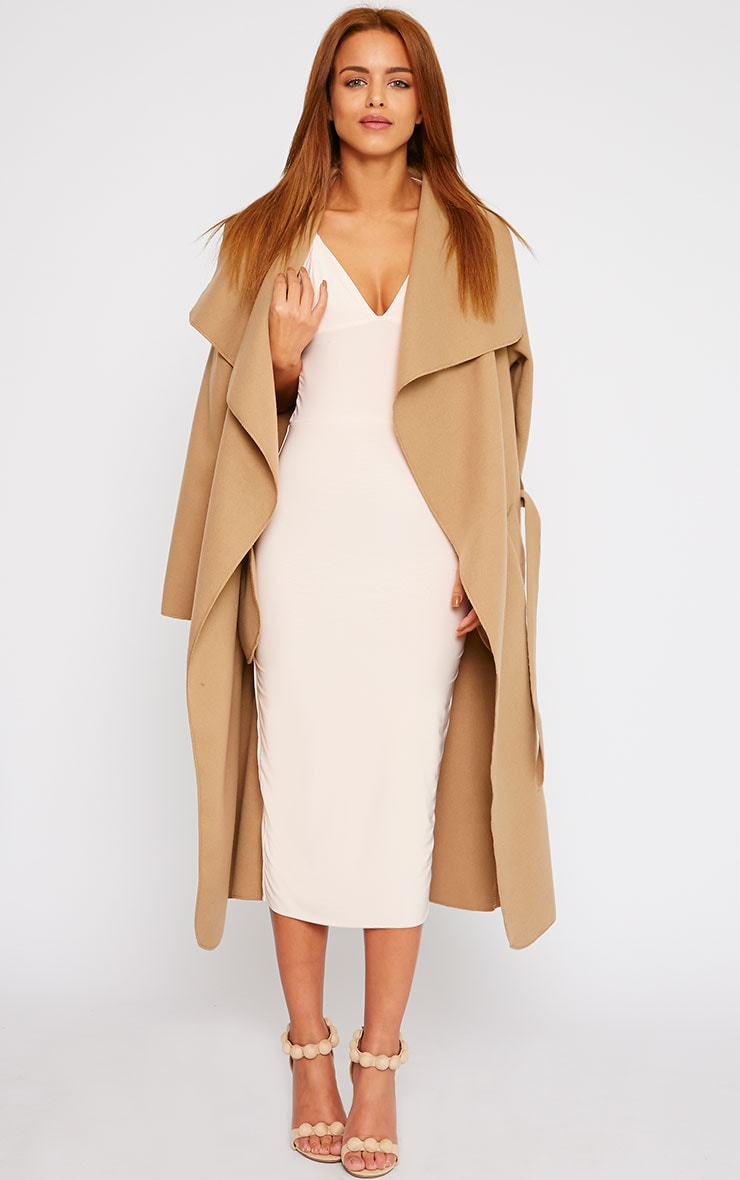 Deanna Nude Slinky Cross Back Midi Dress 3
