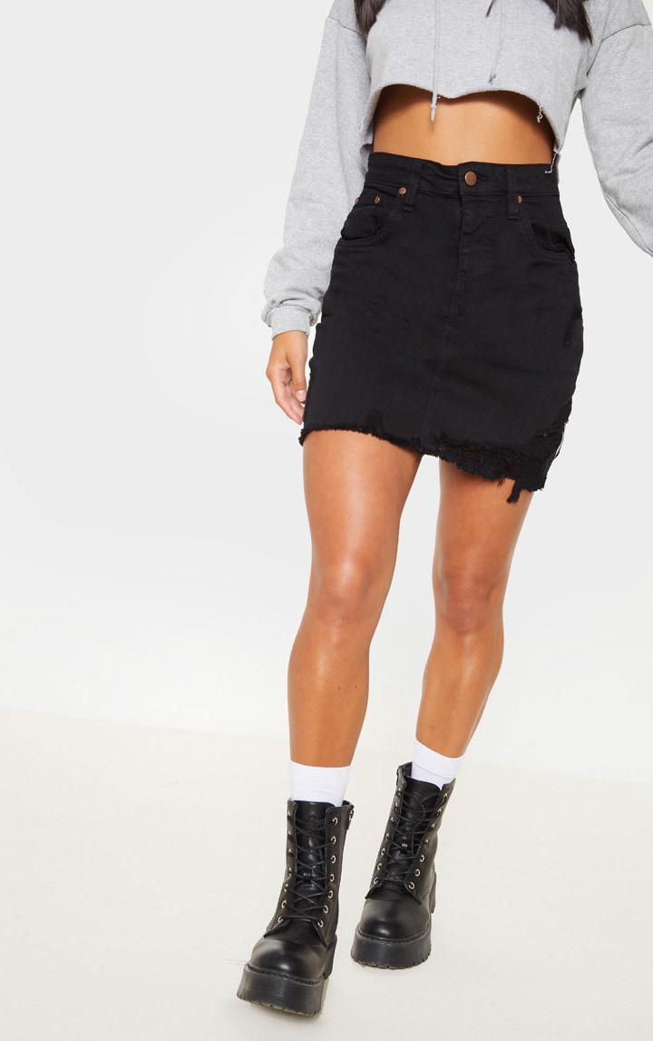 Petite Black Stretch Denim Skirt 2