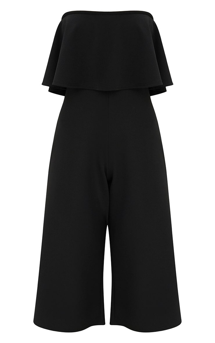 Black Bardot Double Layer Culotte Jumpsuit 3