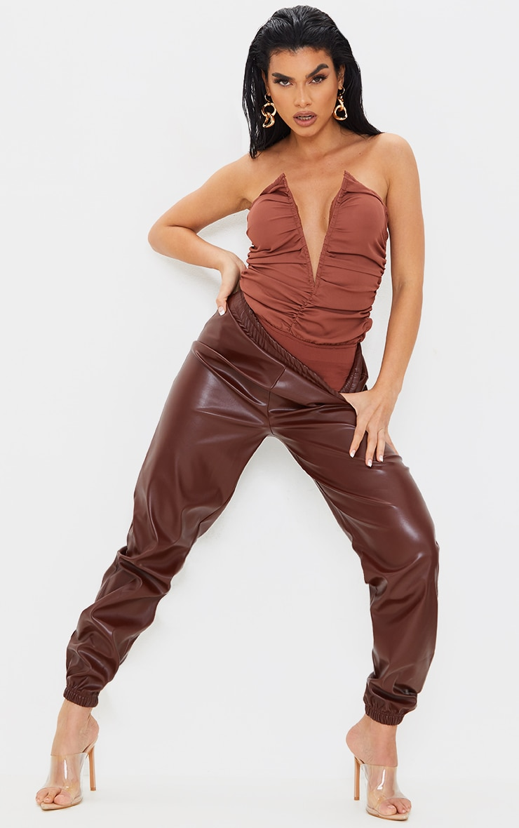 Chocolate Woven Ruched V Wire Bandeau Bodysuit 3