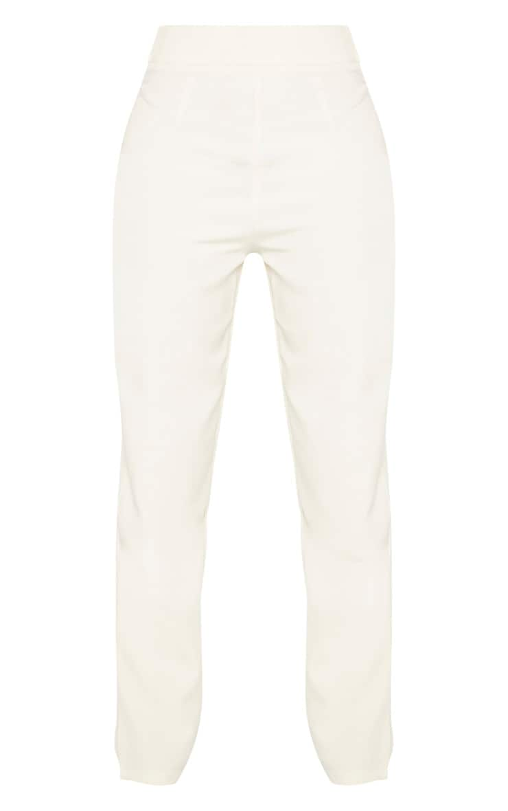 Cream Buckle Detail Straight Leg Trouser 3