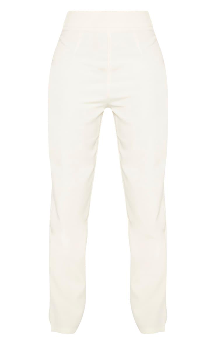 Cream Buckle Detail  Straight Leg Pants  3