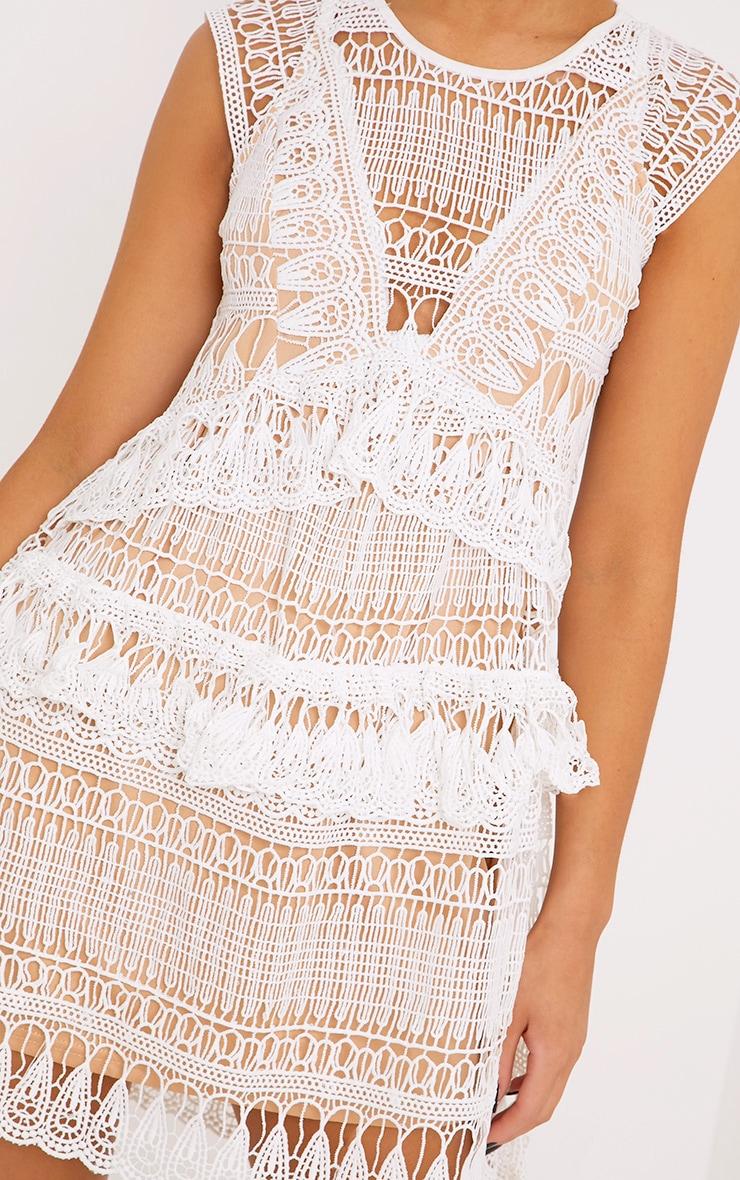 Rayna White Lace Frill Detail Mini Dress 5