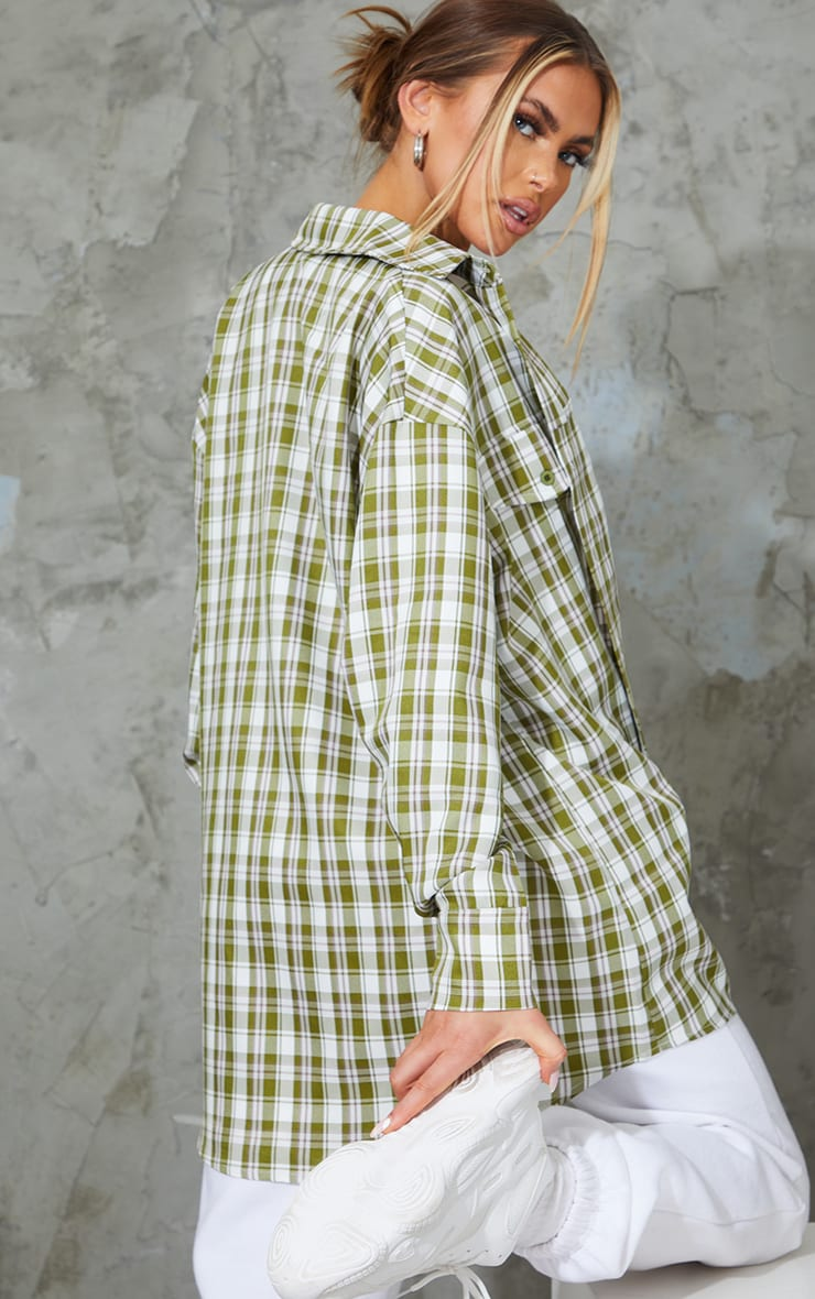 Khaki Woven Checked Pocket Detail Oversized Shirt 2