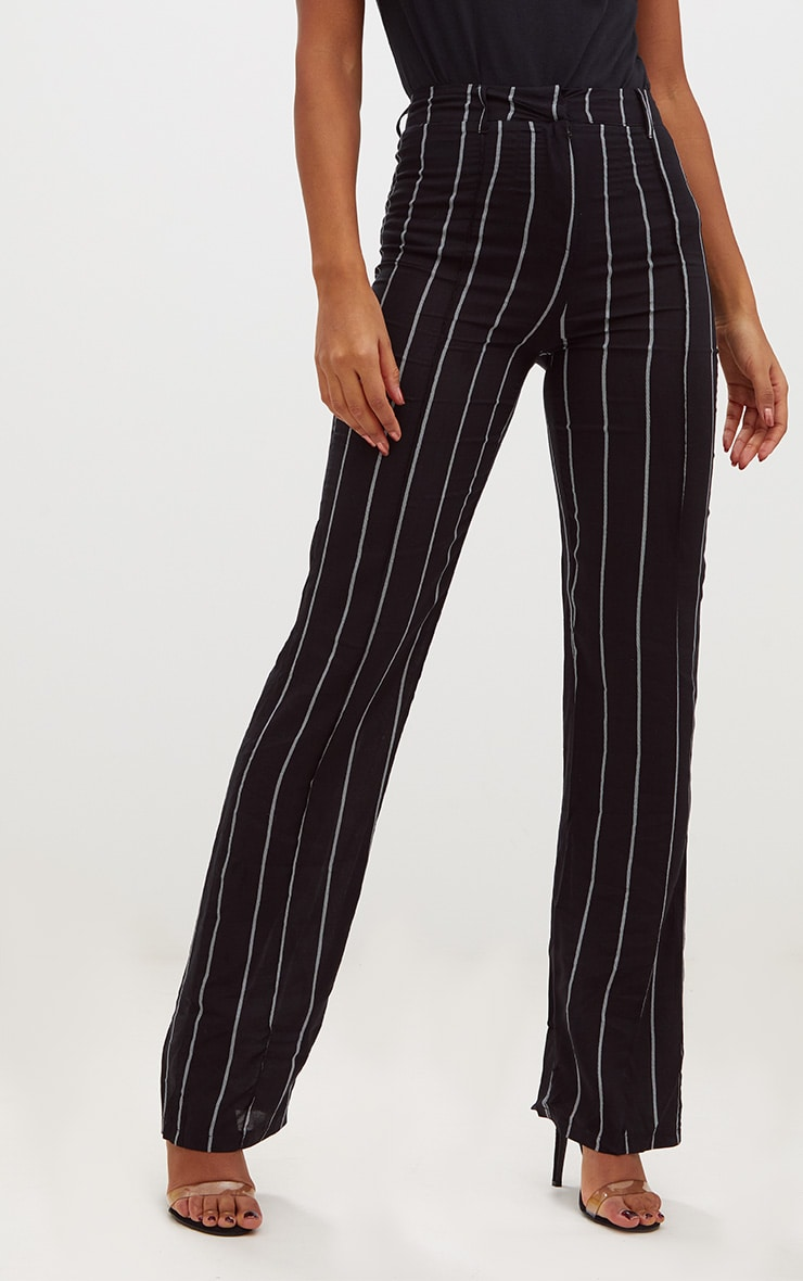 Black Pinstripe High Waisted Straight Leg Trousers 2