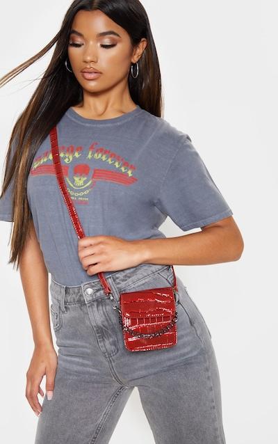 Red Patent Croc Mini Cross Body Bag