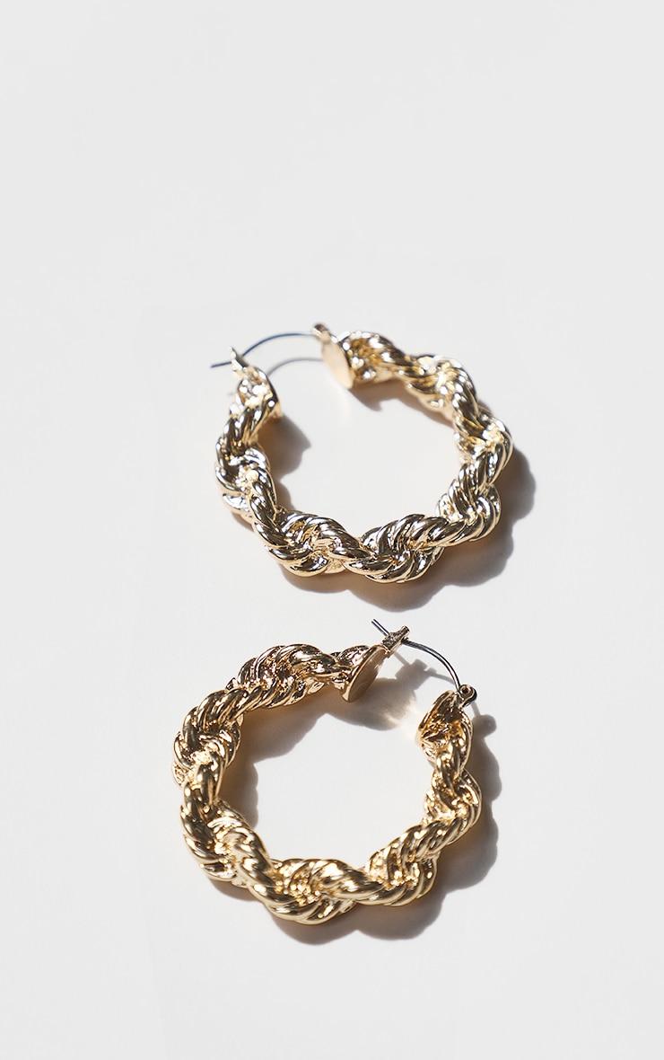 Gold Creole Chunky Hoop Earrings 2