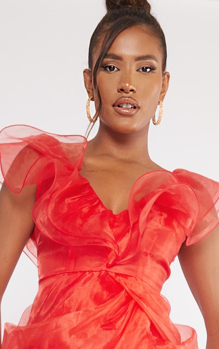 Red Organza Draped Frill Detail Midi Dress 4