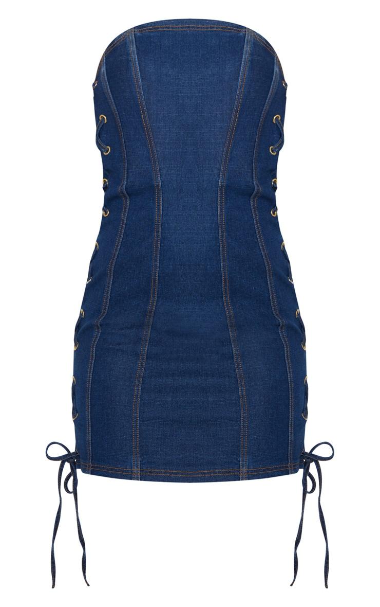 Mid Wash Denim Bandeau Lace Up Detail Bodycon Dress 4