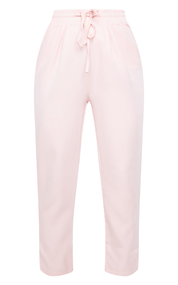 Pantalon cigarette rose clair 5