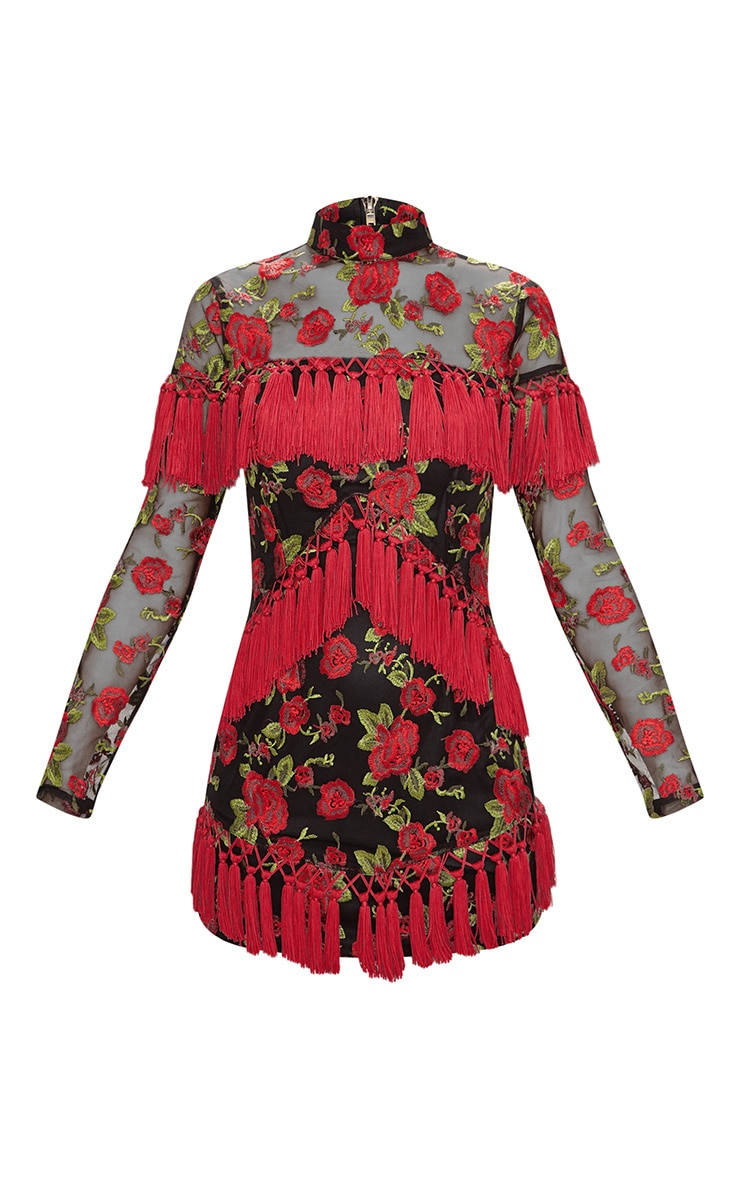 Black Floral Embroidered Tassel Trim Long Sleeve Bodycon Dress 4