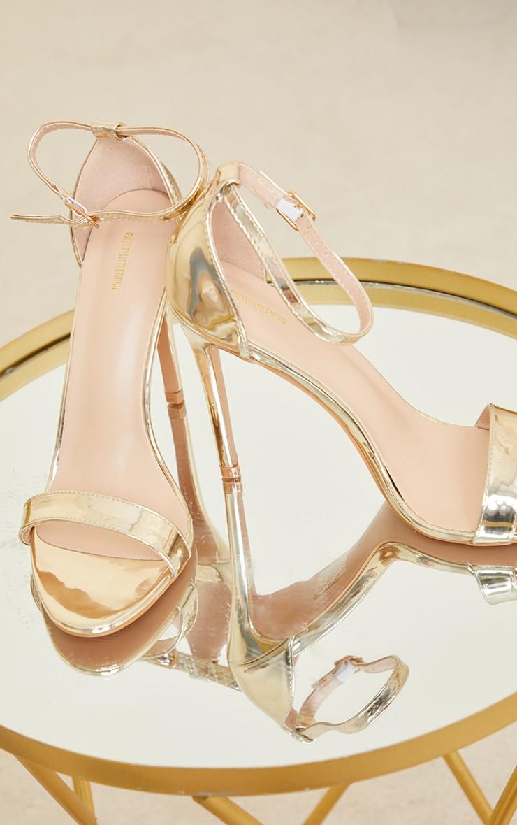 Sandales Clover à talon et bride dorées brillantes 3
