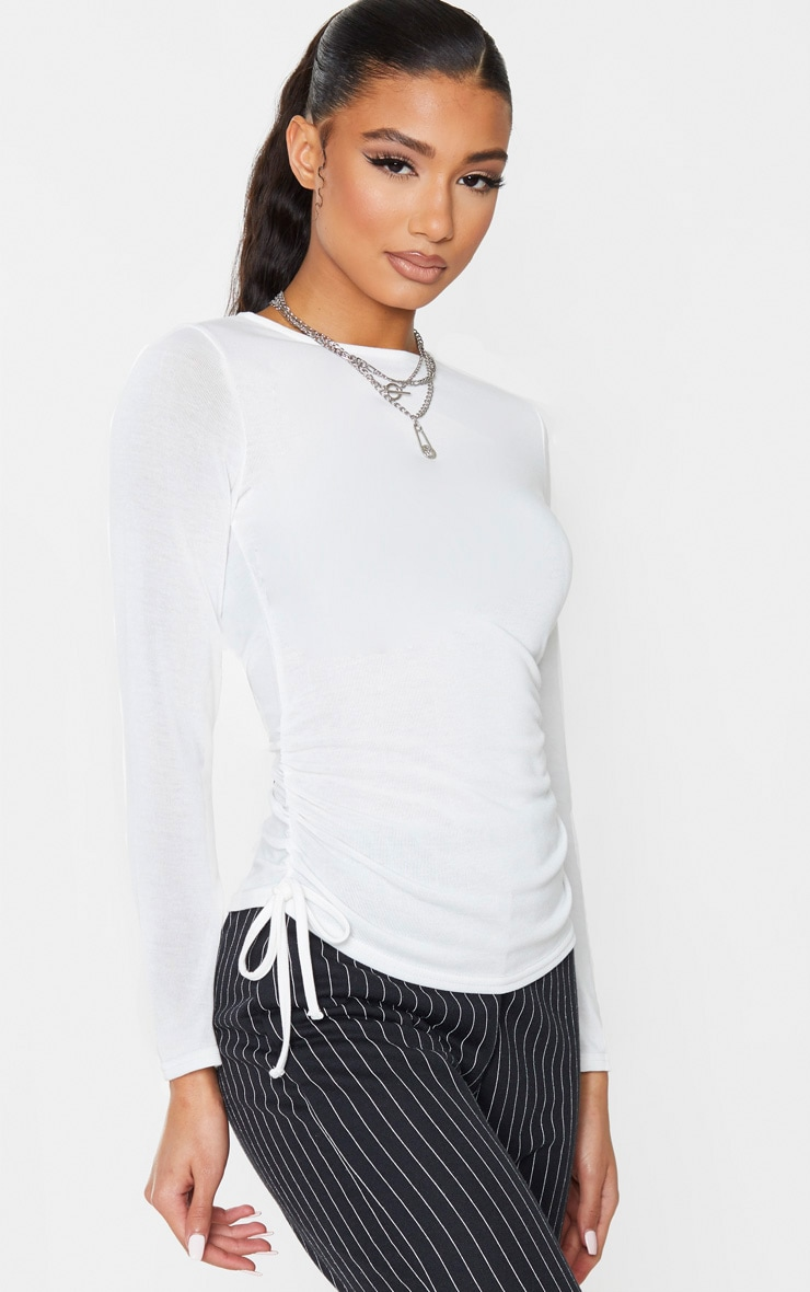 Cream Cotton Ruched Side Long Sleeve Top