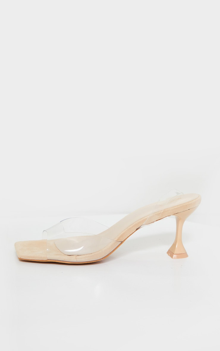 Nude Low Cake Stand Square Toe Clear Strap Slingback Heeled Sandals 3