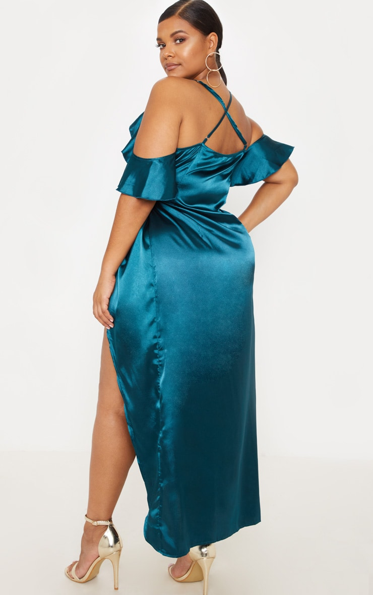 Plus Teal Satin Frill Detail Wrap Maxi Dress 2