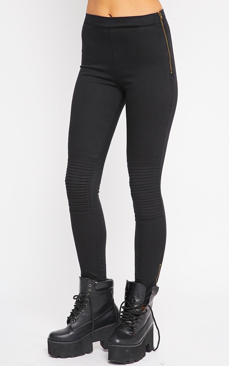 Emory Black Zip Up Biker Jeans 4