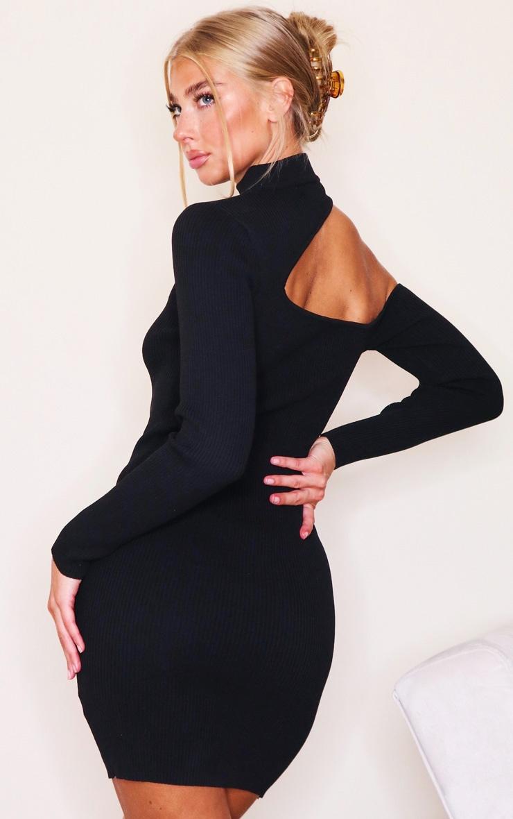 Black Slash Neck Cut Out Knitted Mini Dress 2