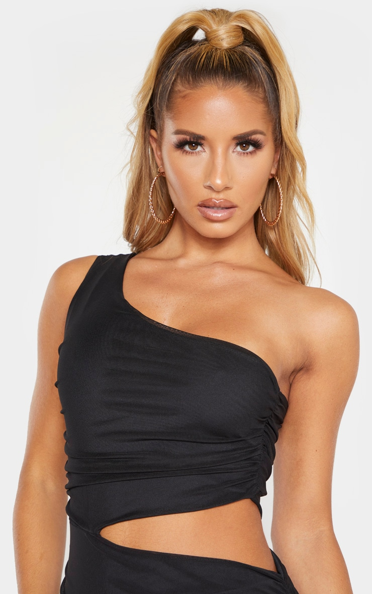 Black Mesh One Shoulder Cut Out Ruched Bodycon Dress 5