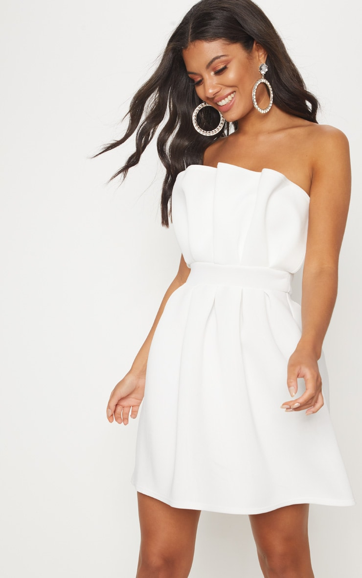 White Bonded Scuba Ruffle Detail Skater Dress 1