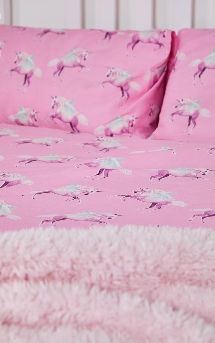 PRETTYLITTLETHING Pink Unicorn Double Duvet Set 2