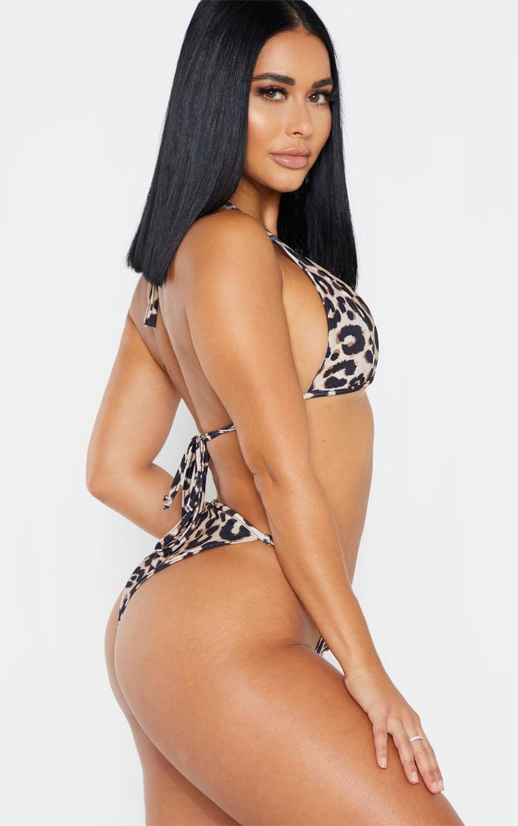 Shape Brown Leopard Print High Rise Skinny Strap Bikini Bottoms 2