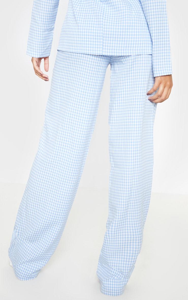 Blue Check Wide Leg Pants 4