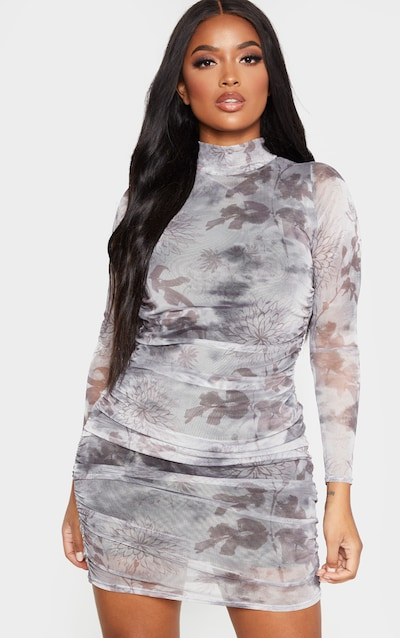 Shape Grey Oriental Print Long Sleeve Bodycon Dress