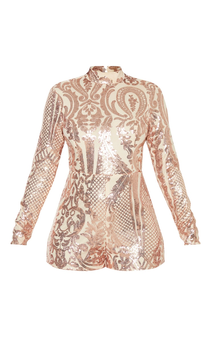 Rose Gold Patterned Sequin Backless Playsuit 3