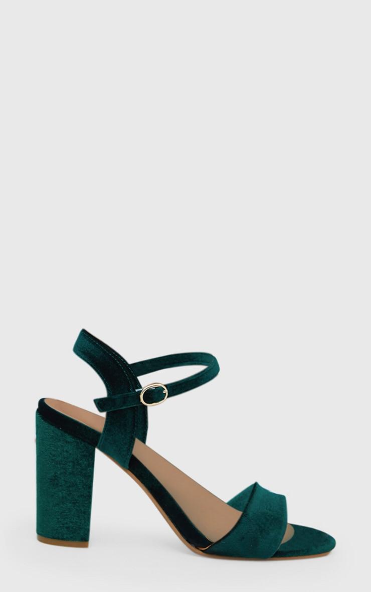 Green Velvet Mid Block Heeled Sandals  3