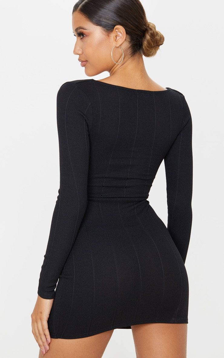 Black Bandage Cross Front Cut Out Detail Bodycon Dress 2