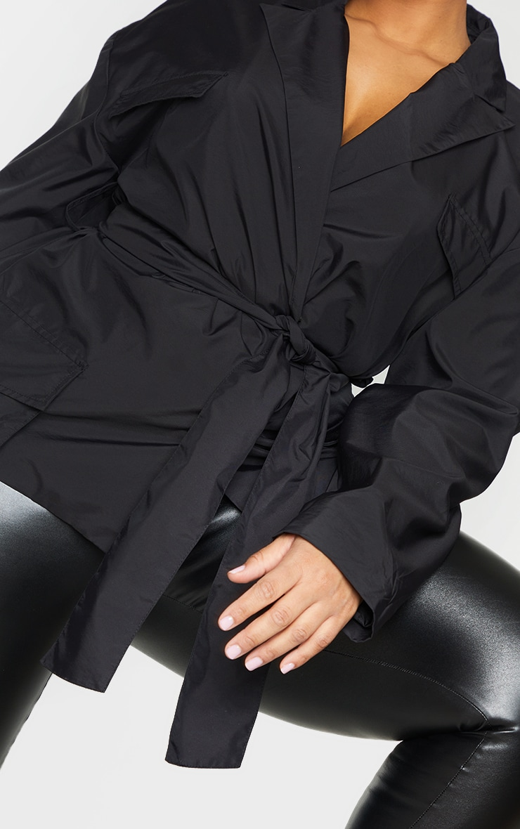 Plus Black Shell Tie Front Cropped Jacket 4