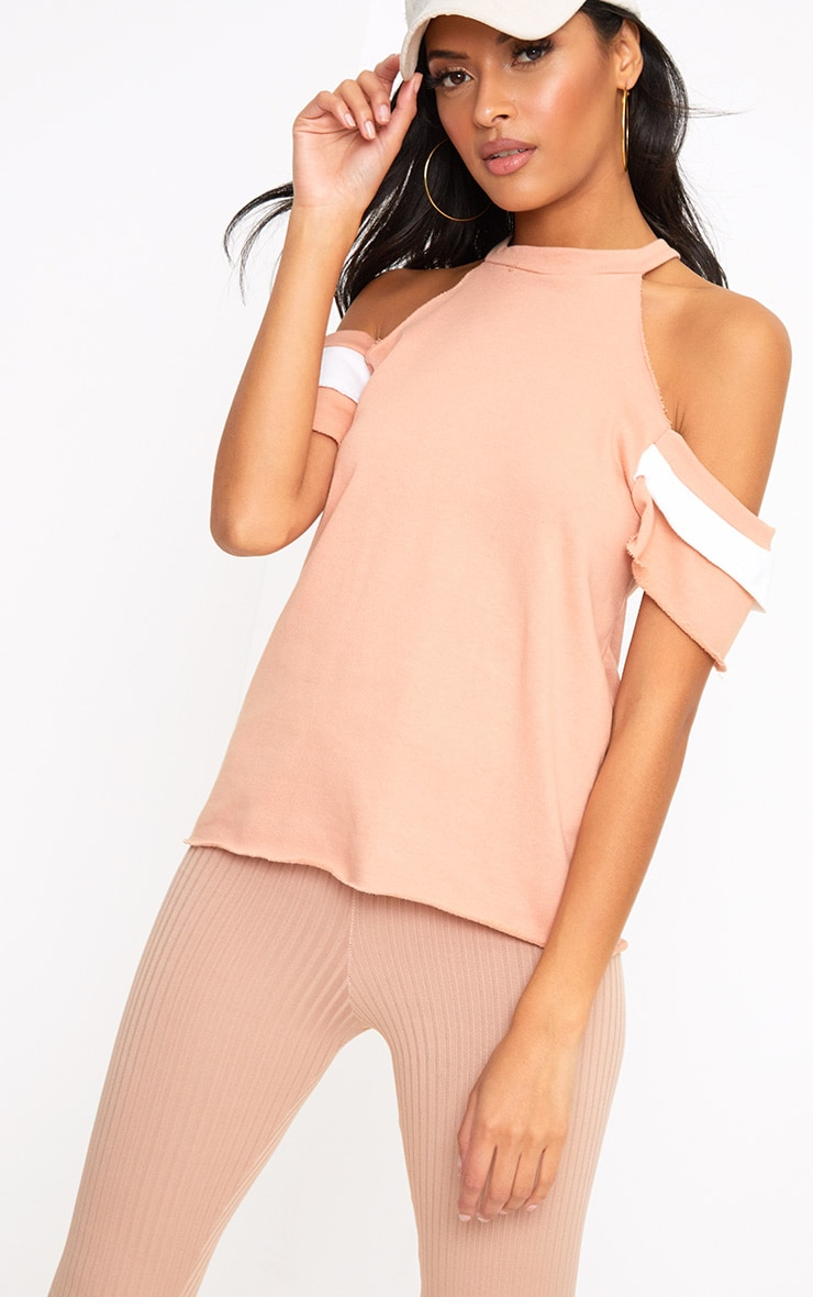 Dusty Coral Cold Shoulder Frill Sleeve Sweater 1