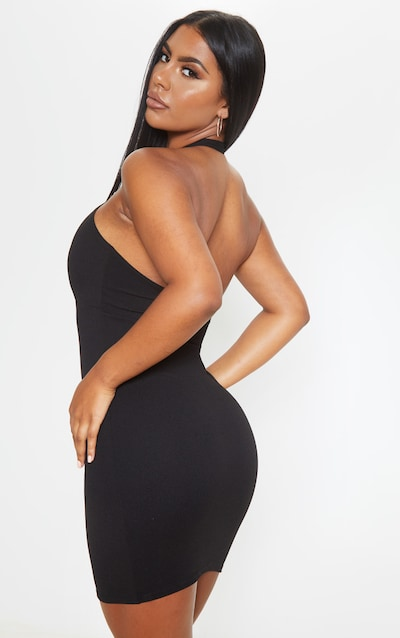Black Halterneck Detail Open Back Bodycon Dress