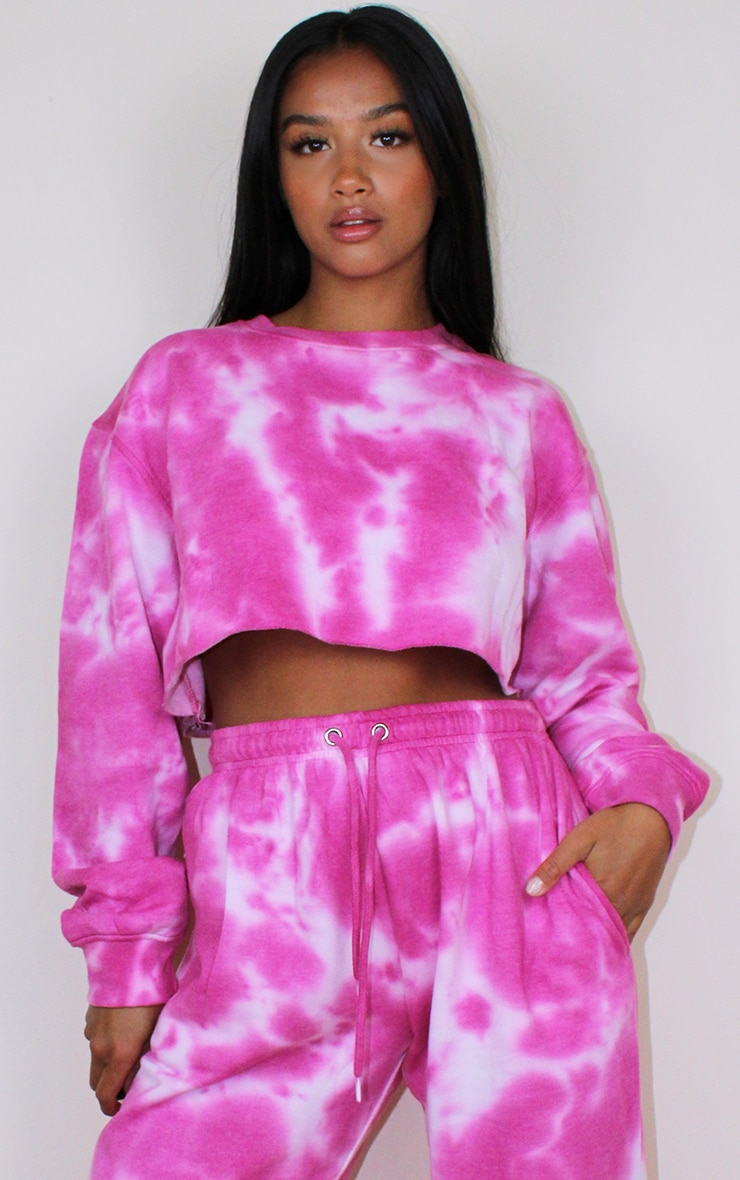 Petite Hot Pink Acid Wash Cropped Sweater 1