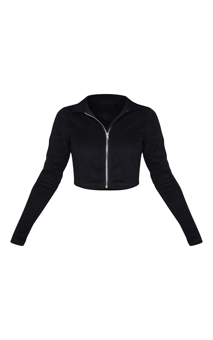 Black Towelling Zip Up Long Sleeve Crop Top 5