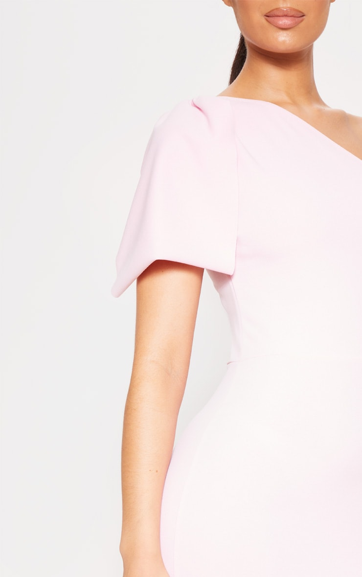 Baby Pink One Shoulder Bow Detail Midi Dress 4