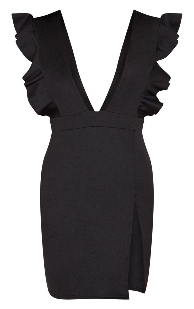 Black Frill Plunge Split Leg Bodycon Dress 3
