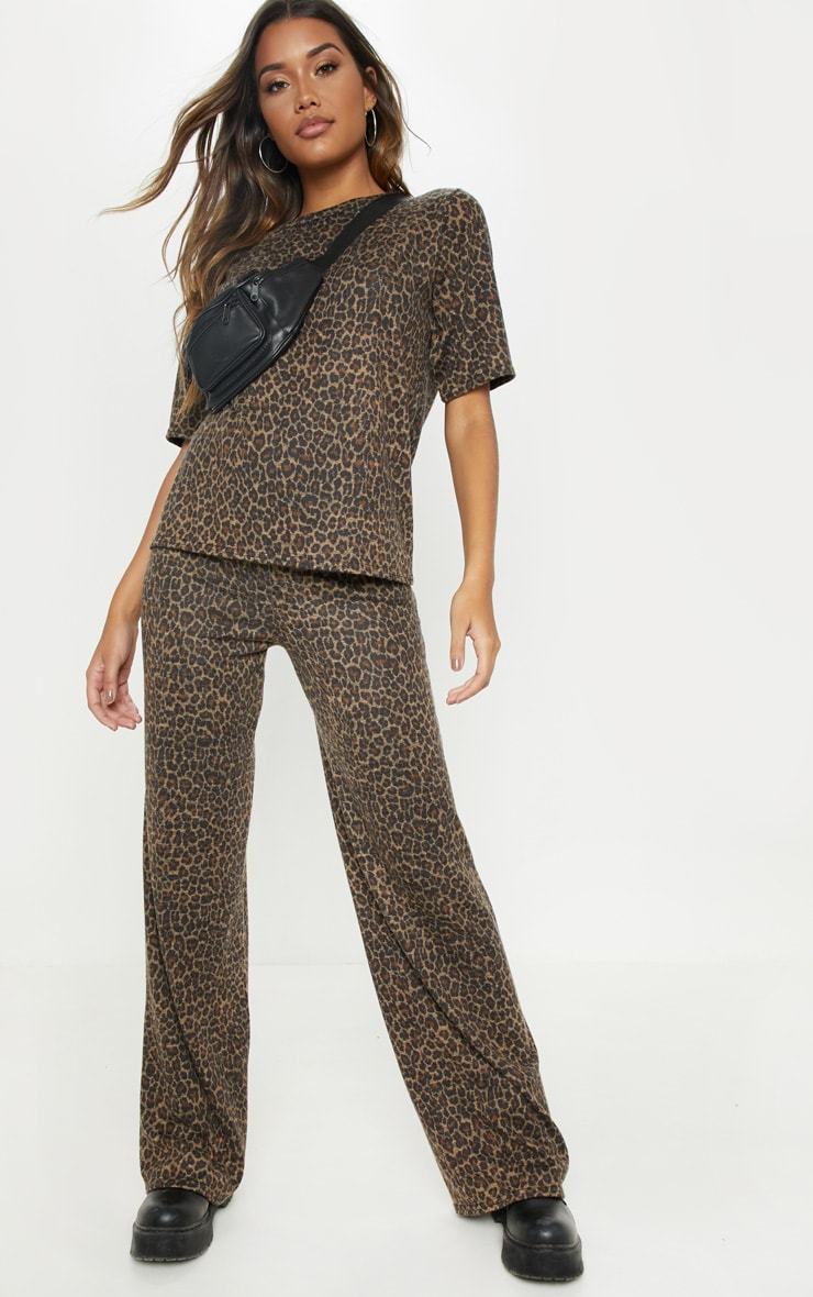 Brown Knitted Leopard Wide Leg Trouser