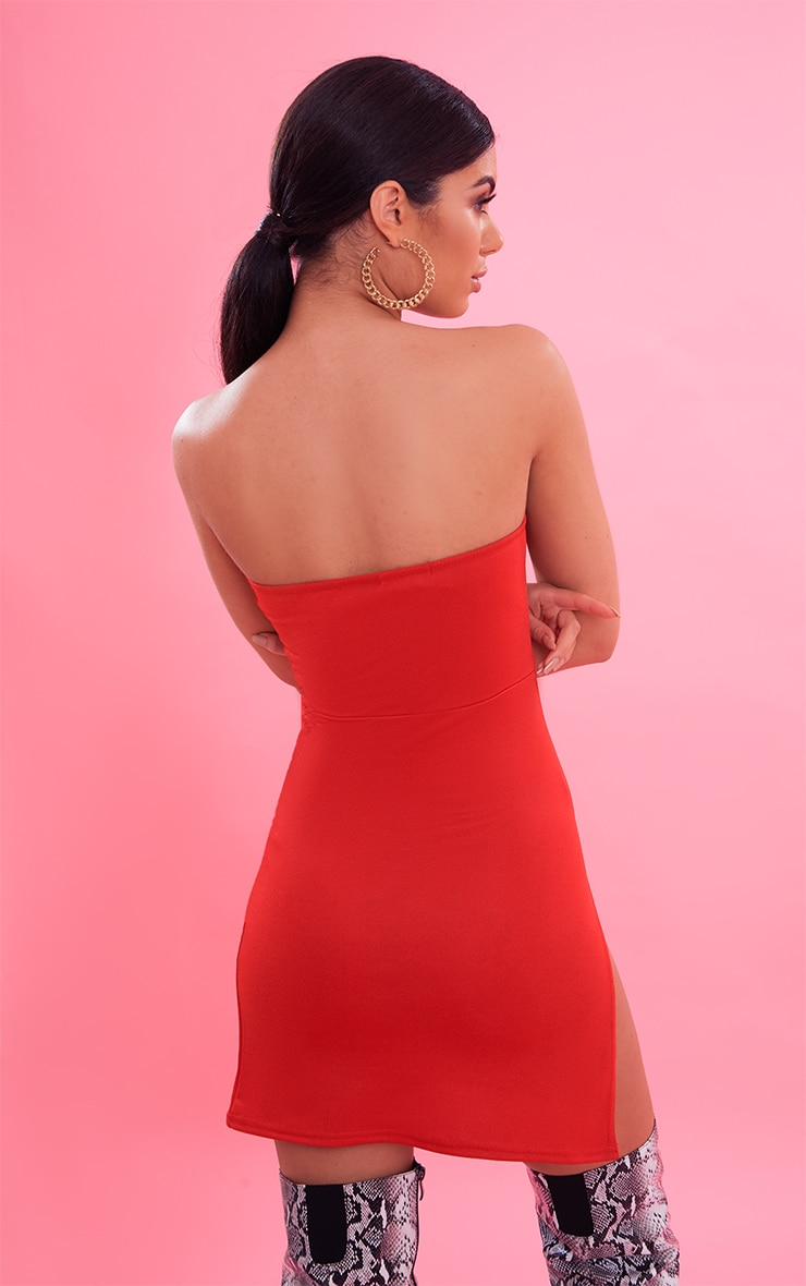 Red Crepe Split Side Bandeau Bodycon Dress 3
