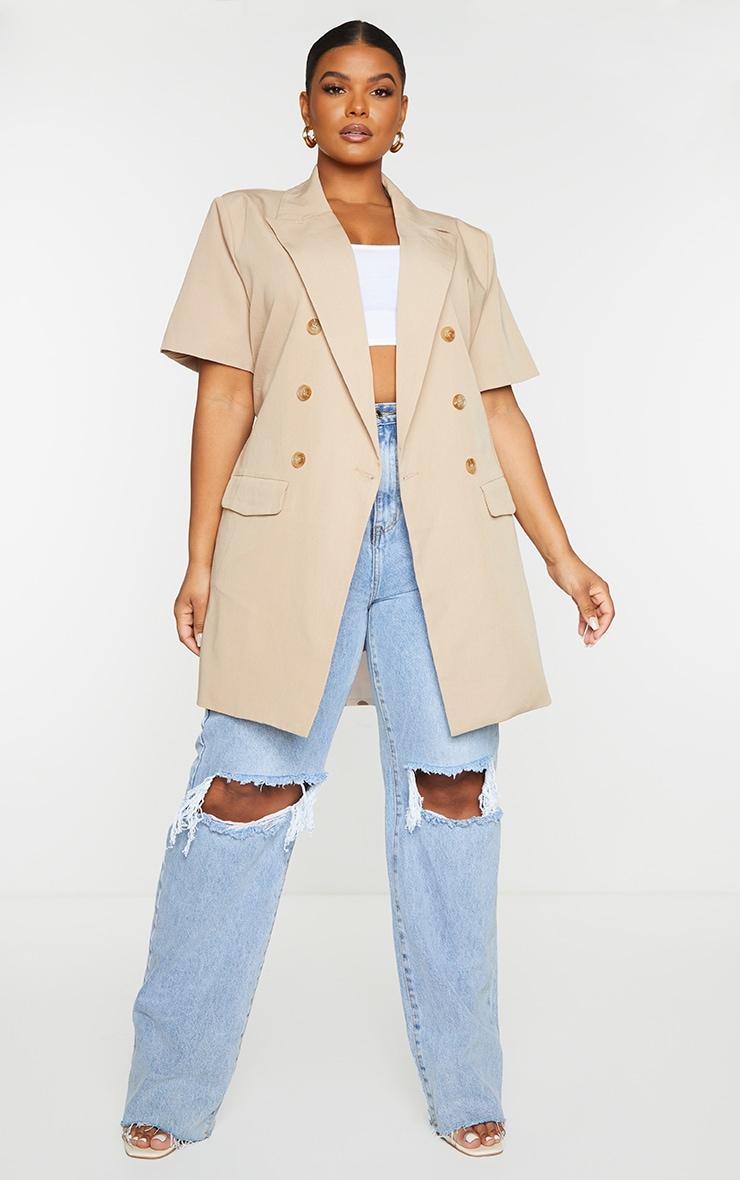 Plus Cream Woven Short Sleeve Longline Belted Blazer 3