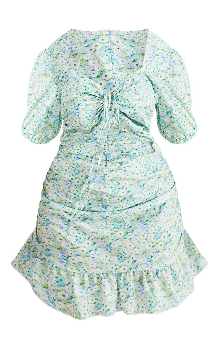 Plus Blue Floral Print Cut Out Dress 5