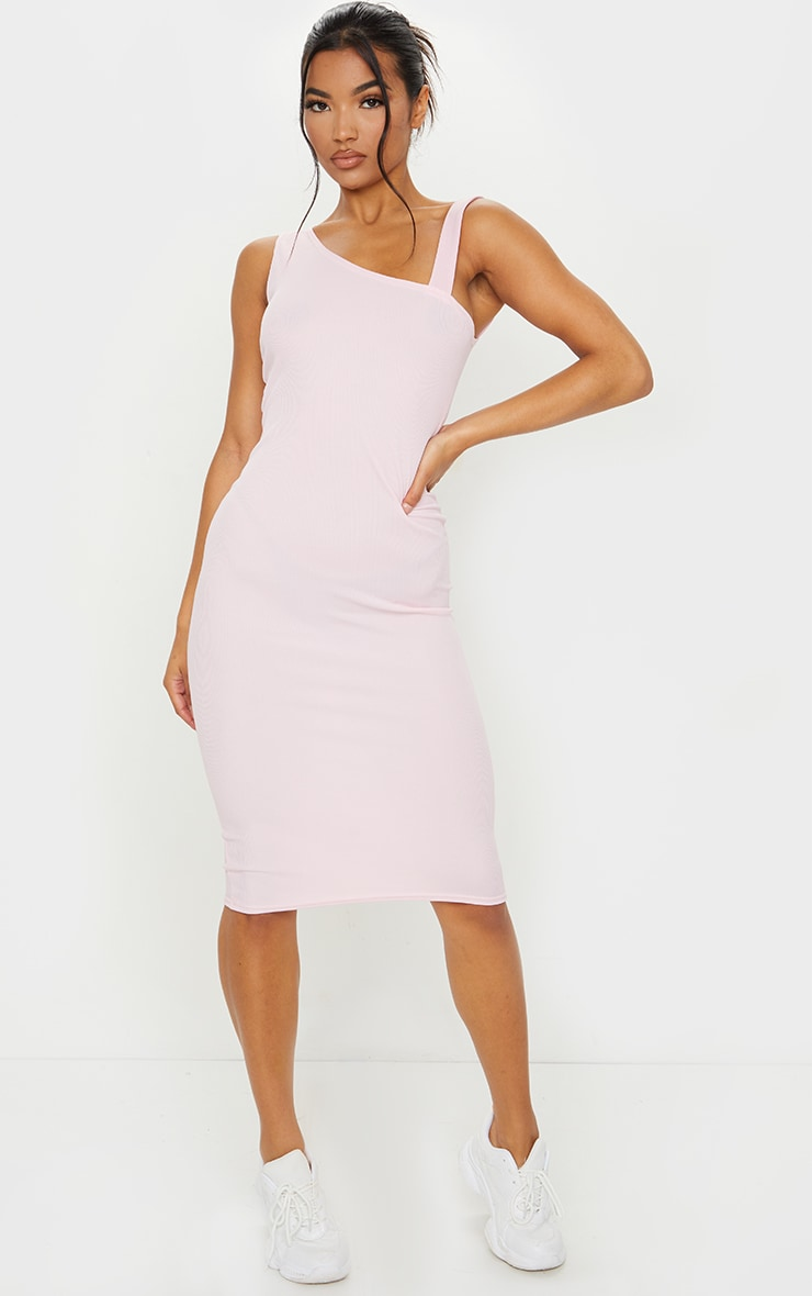 Baby Pink Ribbed Asymmetric Neck Midi Sleeveless Dress 1