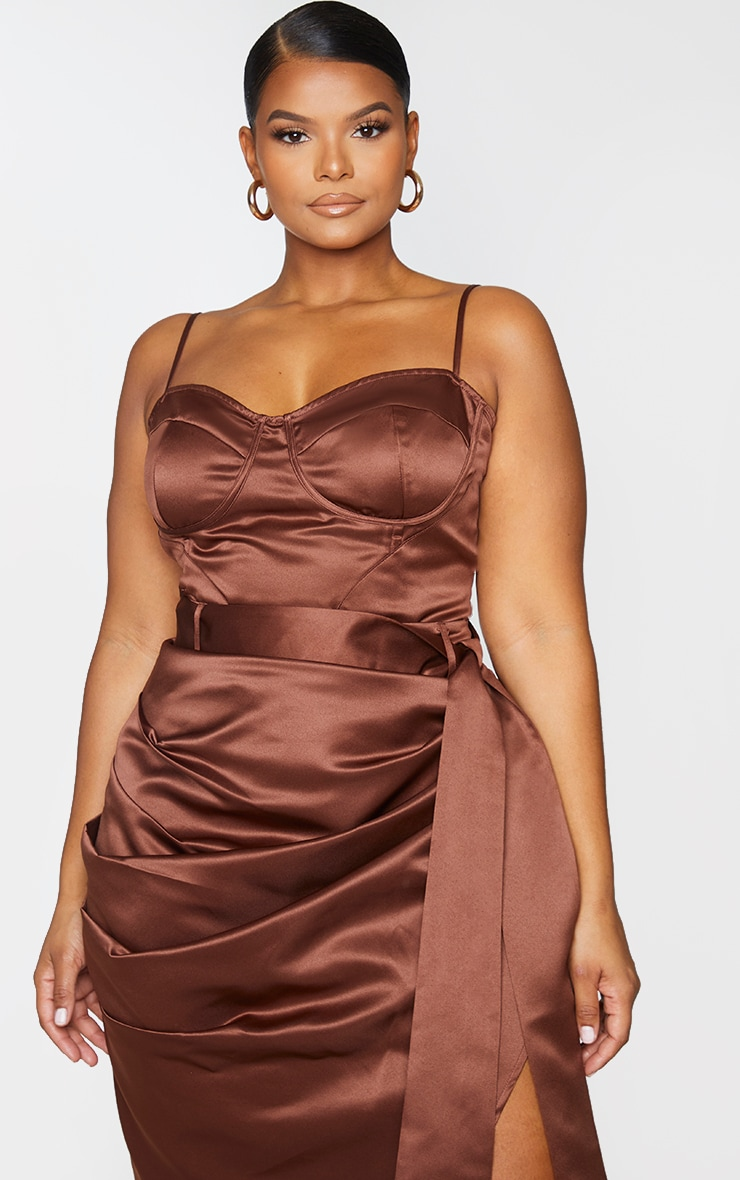Plus Chocolate Brown Strappy Corset Top 1