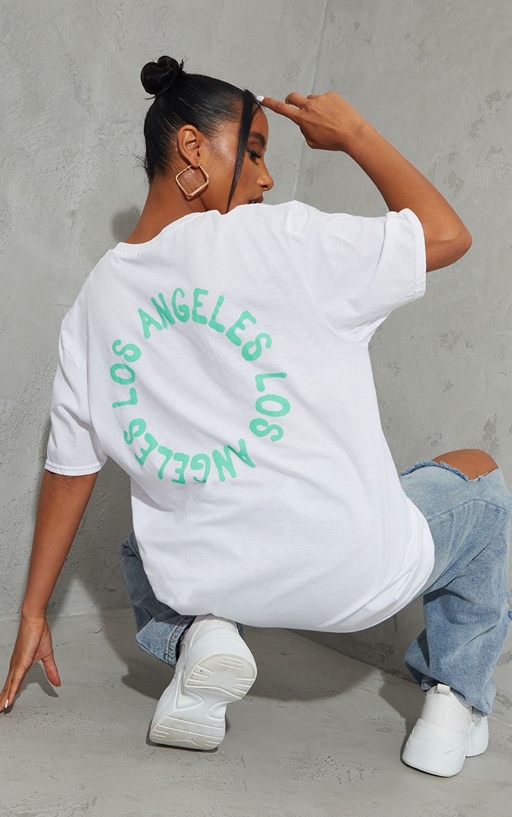 White La Circle Print Washed T Shirt 1